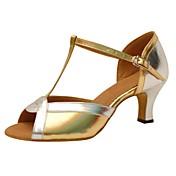 Zapatos de baile(Oro) -Latino-Personalizables-Tacón Carrete