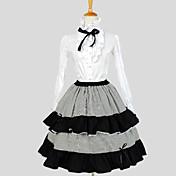 Falda Blusa / Falda Lolita Clásica y Tradicional Elegant Cosplay Vestido  de Lolita Un Color A Rayas Manga Larga Hasta la RodillaBlusa