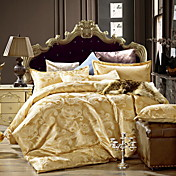 bedtoppingsの4本は、クイーン1掛け布団羽毛布団掛け布団カバー/ 1フラットシート/ 2枕カバーのジャガード柄の綿リッチブレンドポリを設定します