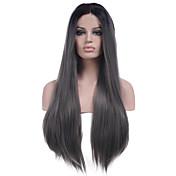 Mujer Pelucas sintéticas Encaje Frontal Largo Liso Gris Entradas Naturales Raya en medio Peluca natural Las pelucas del traje