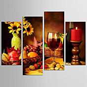キャンバスセット カジュアル 食べ物 Modern リアリズム,4枚 キャンバス 任意の形状 版画 壁の装飾 For ホームデコレーション