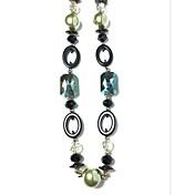 女性 チェーンネックレス クリスタル 人造真珠 ラインストーン 模造サファイア 真珠 人造真珠 樹脂 ガラス 合金 ファッション 欧米の ブルーLED ジュエリー パーティー 日常 カジュアル 1個