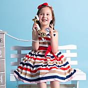 女の子の お出かけ カジュアル/普段着 ストライプ パッチワーク コットン ドレス 夏 ノースリーブ