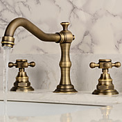 アンティーク調 組み合わせ式 ワイドspary with  セラミックバルブ 二つのハンドル三穴 for  アンティーク銅 , バスルームのシンクの蛇口