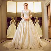 Plesové šaty Illusion Neckline Velmi dlouhá vlečka Tyl Svatební šaty s Korálky Perličky Flitry Krajka Volán podle YUANFEISHANI