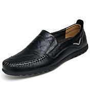 Hombre Zapatos Cuero Primavera Verano Otoño Invierno Confort Zapatos de taco bajo y Slip-On Para Casual Negro Marrón Claro Morrón Oscuro