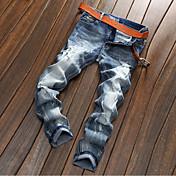 Masculino Simples Cintura Média Micro-Elástica Jeans Chinos Calças,Reto Cor Única