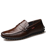 Hombre Zapatos Cuero Primavera Verano Otoño Invierno Confort Mocasín Botas de Moda Zapatos de taco bajo y Slip-On Volantes Para Casual