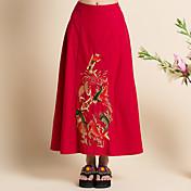 コスプレ イベント/ホリデー ハロウィーンコスチューム レッド ブラック プリント スカート 女性用 リネン
