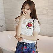 las mujeres camisa de encaje bordado de flores nueva calada ganchillo blusa de verano 2017