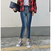 符号2017韓国語版スペルカラージーンズパンツのウエストは薄いバリヒットカラーパンツの足の潮でした