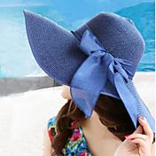 las mujeres del verano del sombrero de paja de ala ancha plegable bowknot sombreros para el sol