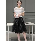夏の新しい女性' sのファッションスーツのスカートのメッシュピースシフォンドレスの韓国語バージョンと長いセクション