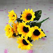 6 cabezas de estilo rural girasoles simulación paño de seda amarillo