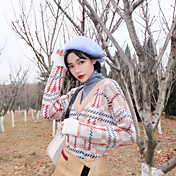 韓国の外国の味優しいピンクのシックな高襟フェイク2つの緩い赤チェック柄の長袖Vネックセーターに署名