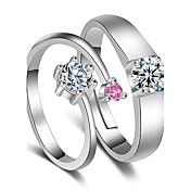 Prstýnky Svatební Párty Zvláštní příležitosti Šperky Pokovená platina Snubní prsteny 1 pár,Nastavitelný Stříbrná