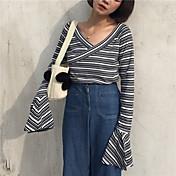 新しい秋がされたサイン薄いVネックストライプホーンスリーブTシャツシャツ底入れシャツ韓国の野生のメス