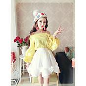 正味の2017新しい韓国のファッション漏れ肩ハーネス襟王女の袖のシャツに署名