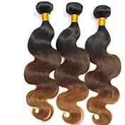 人間の髪編む ペルービアンヘア ナチュラルウェーブ 3個 ヘア織り