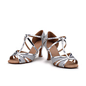 Zapatos de baile(Rojo Plata Oro) -Latino-Personalizables-Tacón Carrete