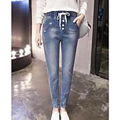 女性のためのジーンズは弾性ウエストパンツの足の女性のファッションの新しい波記号薄いハーレムパンツ緩いズボンの崩壊のズボンでした