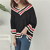 oportunidad real! suéter del resorte nuevo hit coreano de color con cuello en V manga delgada desgastado