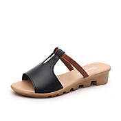 Sandály-PU-Pohodlné-Dámské-Černá Růžová Bílá Azurová-Outdoor Šaty-Plochá podrážka