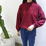 firmar punto de 2017 del resorte de muy buen gusto elegante nuevo de pana color sólido de la manga murciélago suéter flojo