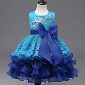 vestido de bola vestido de la muchacha de flor de la rodilla - organza cuello de la joya sin mangas con el applique de ydn