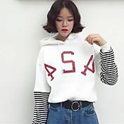 長袖のセーターの女性をヘッジする縞模様のカシミヤフード付きのスペル春新しい韓国の学生の手紙に署名