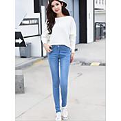 firmar la primavera nueva versión coreana de los pantalones vaqueros elásticos de la cintura significativamente delgadas pies femeninos