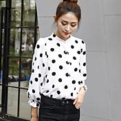 2017年春に新しい韓国の波のポイントシャツ女性のファッション緩い雪の野生スタンドカラーのシャツに署名