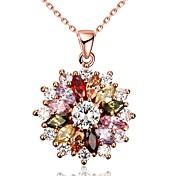 Mujer Collares con colgantes Collares de cadena Circonita Forma de Flor Zirconio Cobre Rosa Oro Plateado Diseño Único Colgante Amor