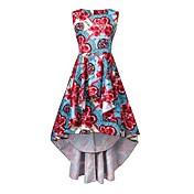 Mujer Corte Swing Vestido Casual/Diario Fiesta/Cóctel Vintage Boho,Floral Escote Redondo Asimétrico Sin Mangas Poliéster Primavera Verano