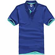 メンズ カジュアル/普段着 Polo,シンプル 活発的 シャツカラー ソリッド カラーブロック コットン 半袖