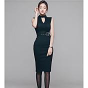 Profundo faja delgada de la cadera del paquete de v alrededor del collar de compras coreano del vestido sin mangas elegante elegante del