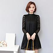 firmar vestido de manga larga corrugado delgado coreano de tocar fondo suelto