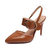 Mujer-Tacón Stiletto-Zapatos del club-Tacones-Vestido Informal Fiesta y Noche-Semicuero-Negro Morrón Oscuro Caqui