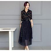 2017 del resorte nuevas mujeres de Corea atan el vestido de dos piezas traje de cuello de vestir casual basa el vestido de impresión