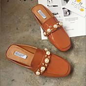 Mujer-Tacón Plano-Confort-Zuecos y pantuflas-Informal-PU-Negro Marrón