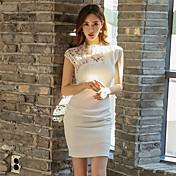 韓国気質セクシーなパッケージヒップ透かし彫りステッチレースのノースリーブのドレス2017春新しい女性