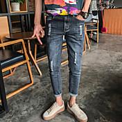 韓国スリムストレッチジーンズの足のストッキング夏の新しい男性' sのカジュアルパンツの潮9点のティーンエイジャー