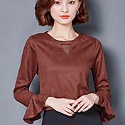 2017年の女性モデル長袖Tシャツのファッションスエードレトロホーンスリーブシャツ野生ボトミングに署名
