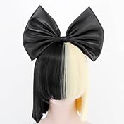 新しい大きな弓とヘアネット黒半分ブロンドSIAスタイリングパーティーかつら