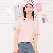 署名2017韓国の半袖Tシャツ女性の女性庭丸い首のソリッドカラーの綿のシャツ思いやりのある学生