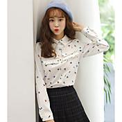 Signo 2016 invierno nuevas mujeres coreano ventilador plisado camisa de impresión floral camisa de manga larga camisa blanca