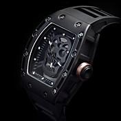 Hombre Reloj Deportivo Reloj Esqueleto Reloj de Moda Reloj de Pulsera Reloj creativo único Cuarzo Noctilucente Punk Silicona BandaCosecha