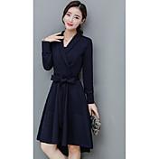 ヨーロッパの商品2016秋の新しい女性スリム薄いVネック長袖のドレスの気質のアゲハチョウ大きなスイングAラインのドレスの女性
