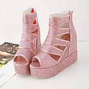 Mujer-Tacón Cuña-Confort-Sandalias-Vestido-Cuero Patentado-Plata Rosa