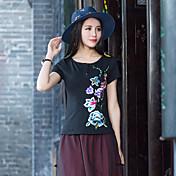 女子' sの春と夏の全国風レトロビッグヤード刺繍フラワープレートボタンシャツスリム底入れシャツ半袖Tシャツ